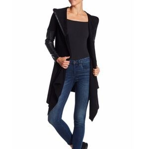 NWT BLANKNYC Denim Faux Leather Trim Long Jacket